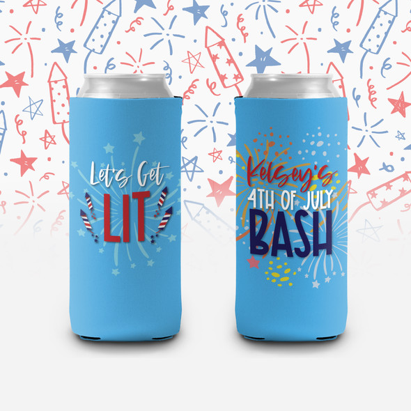 4th of July bash let's get lit personalized slim or regular size can coolie