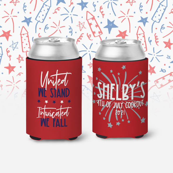 4th of July cookout united we stand intoxicated we fall personalized slim or regular size can coolie