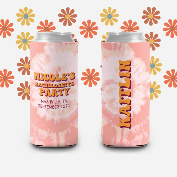 Bachelorette party watercolor splash flower personalized can coolies