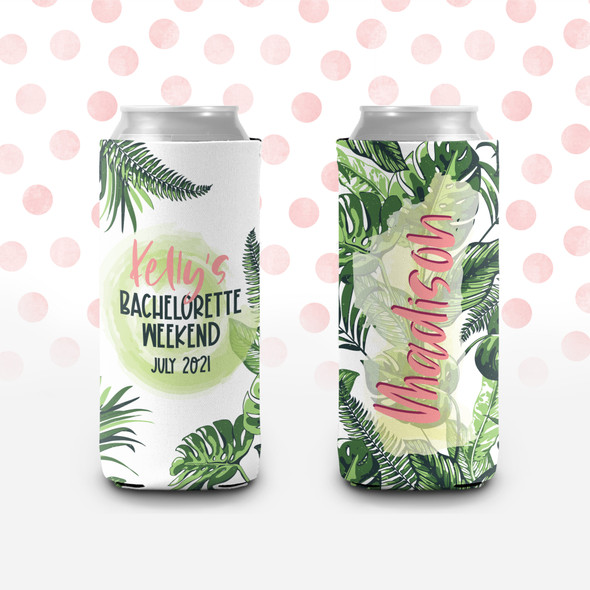 Bachelorette party tropical palm leaves personalized can coolies