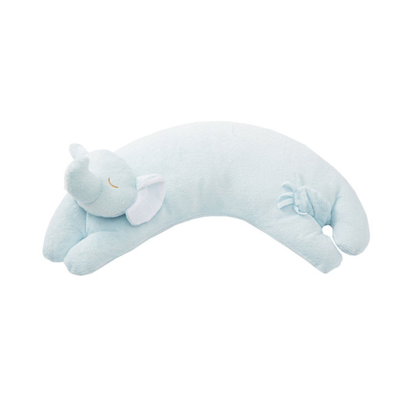 Blue Elephant Curved Pillow by Angel Dear