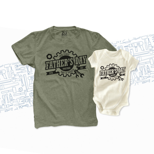 First Father's Day together gear wrench matching dad shirt and baby bodysuit custom gift set