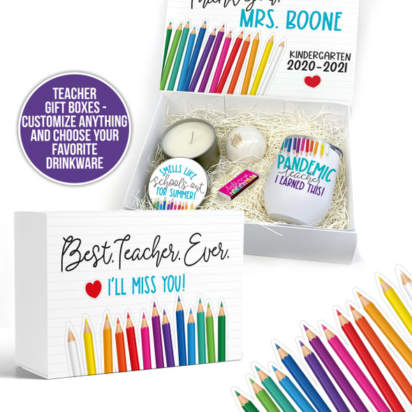 Teacher end of school year thank you gift box with drinkware option gift set