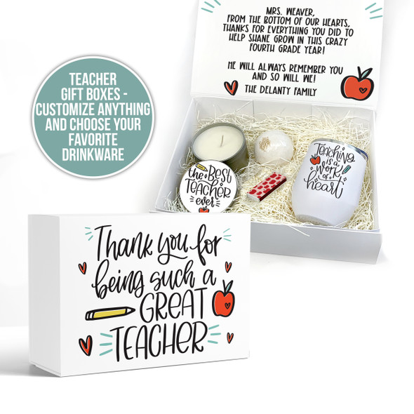 Teacher thank you gift box with drinkware and custom inside message options gift set