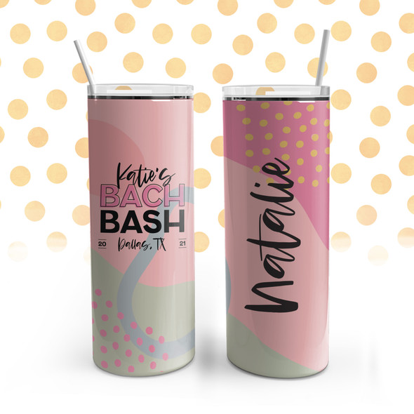 Bachelorette party bach bash personalized stainless steel 20oz skinny tumbler