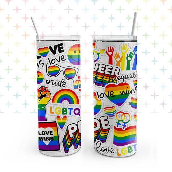 Pride LGBTQ love wins rainbow stainless steel 20oz skinny tumbler