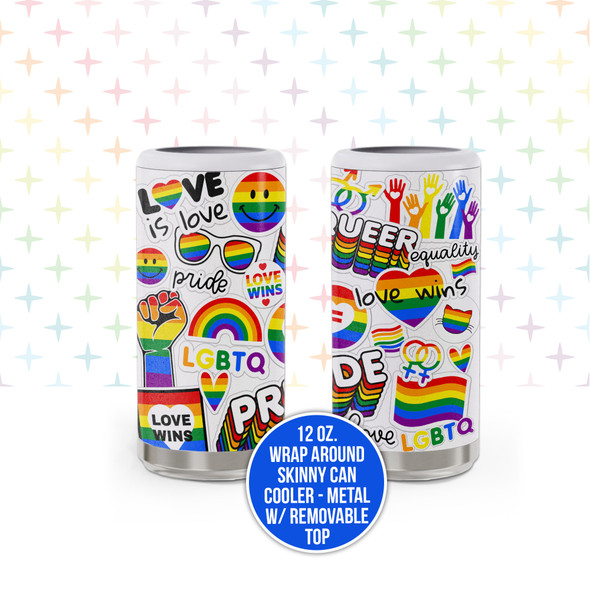 Pride LGBTQ love wins rainbow metal 12oz skinny can cooler with removable top