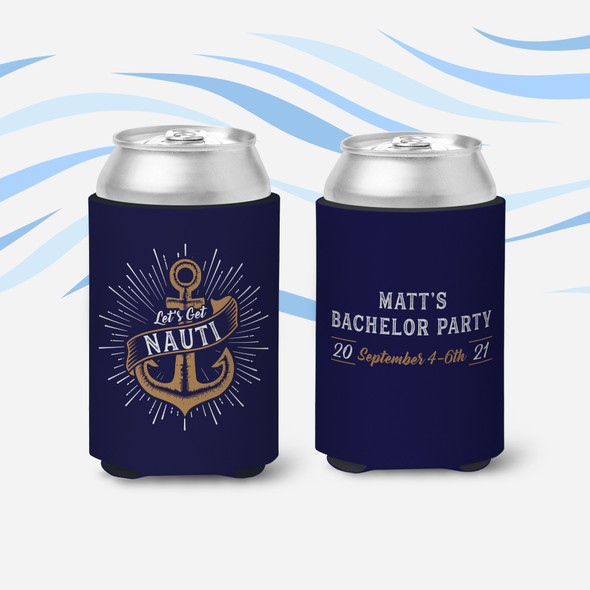 Bachelor party let's get nauti personalized can coolies
