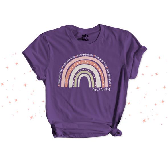 Teacher kindergarten rocks or any grade pink rainbow personalized DARK Tshirt