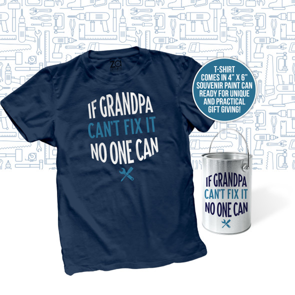 Happy Father's Day souvenir paint can with if grandpa can't fix it DARK Tshirt