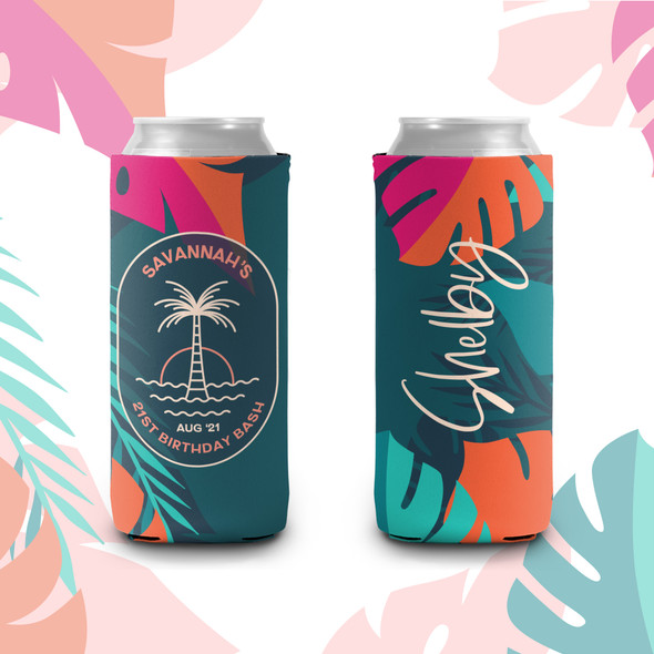 21st birthday bash palm tree personalized slim or regular size can coolie