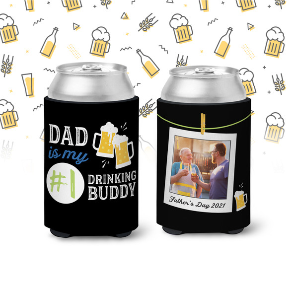 Fathers Day drinking buddy dad or child photo can coolie