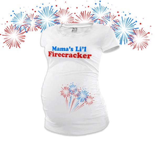 4th of July mama's li'l firecracker non-maternity or maternity Tshirt