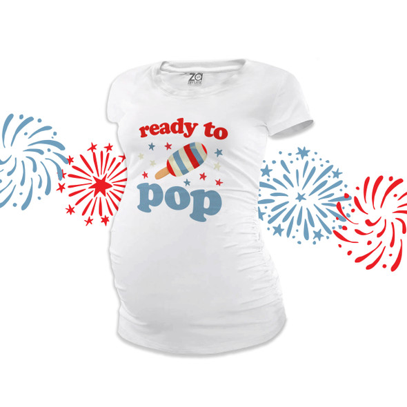 July 4th red white and blue ready to pop non-maternity or maternity Tshirt