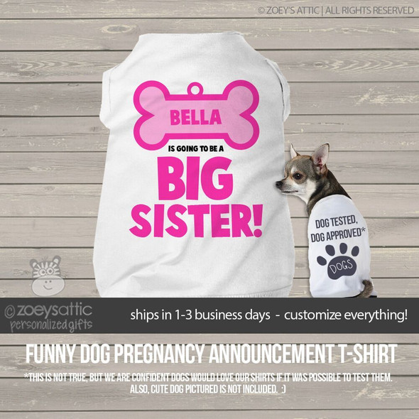 Dog shirt big sister to be dog bone pregnancy announcement personalized dog Tshirt