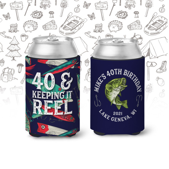 40th birthday keeping it reel any age birthday personalized slim or regular size can coolie