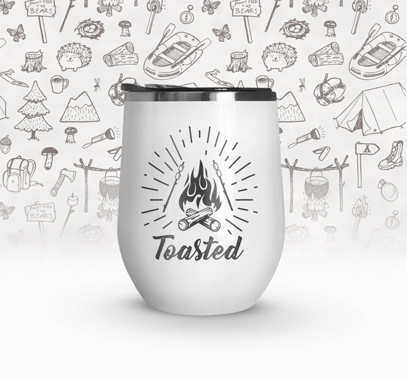 Camp vacation toasted stainless steel wine tumbler