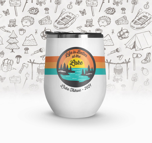 Vacation life is better at the lake personalized stainless steel wine tumbler  with lid