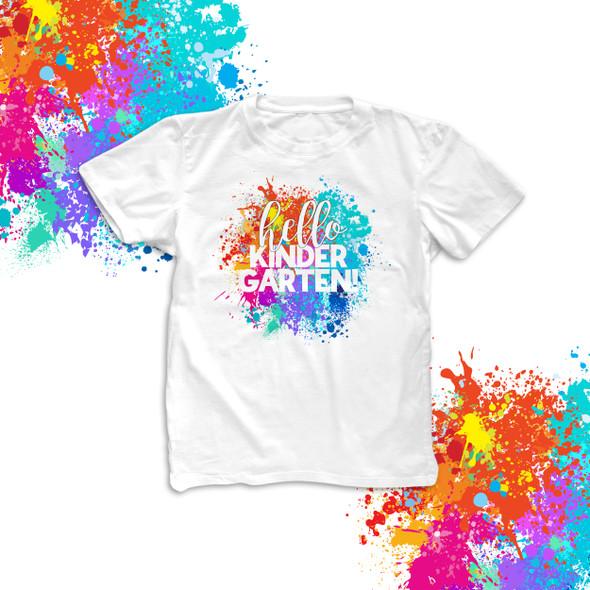 Hello kindergarten or any grade back to school paint splatter student Tshirt