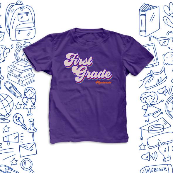 Student first grade second grade any grade rainbow retro DARK Tshirt
