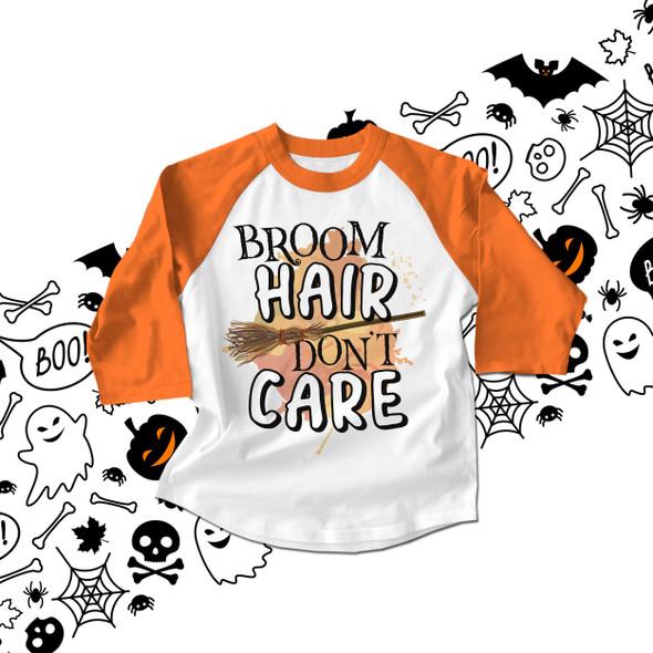 Halloween broom hair don't care kids raglan shirt
