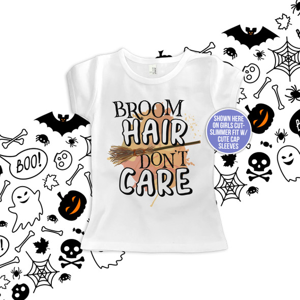 Halloween broom hair don't care kids Tshirt