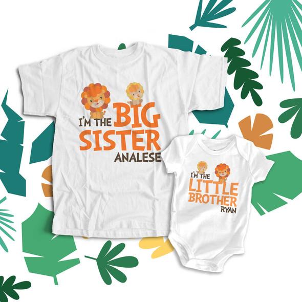 Brother or sister lion matching sibling shirt set