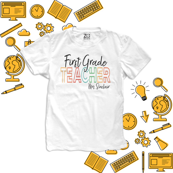 Teacher rainbow text letters first second third or any grade personalized team shirt