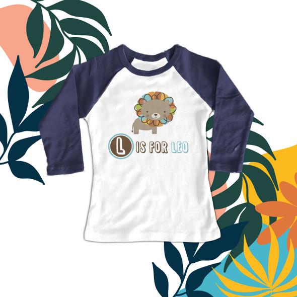 Colorful lion personalized kids raglan shirt