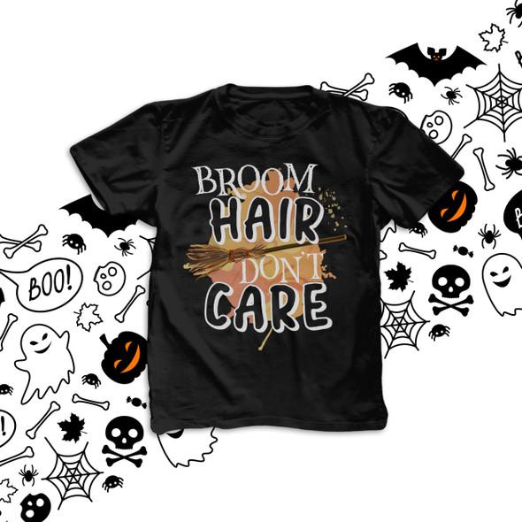 Halloween broom hair don't care kids DARK Tshirt