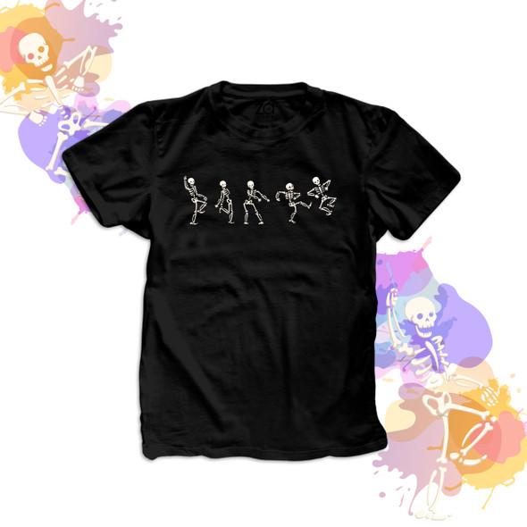 Halloween funny dancing skeletons DARK Tshirt