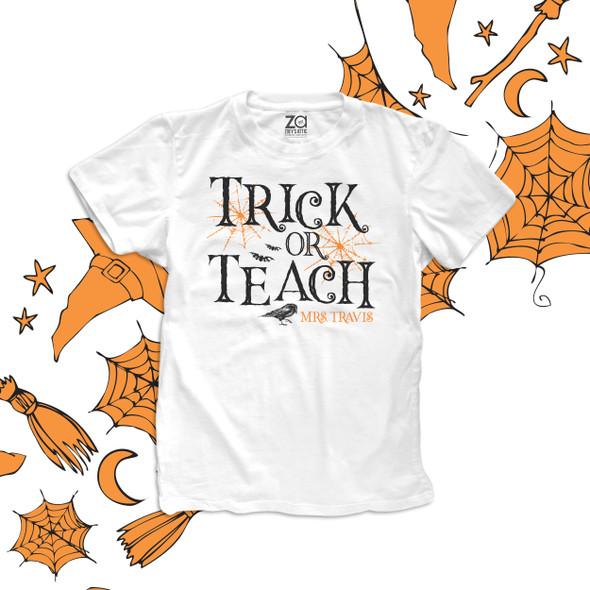 Halloween teacher trick or teach personalized Tshirt