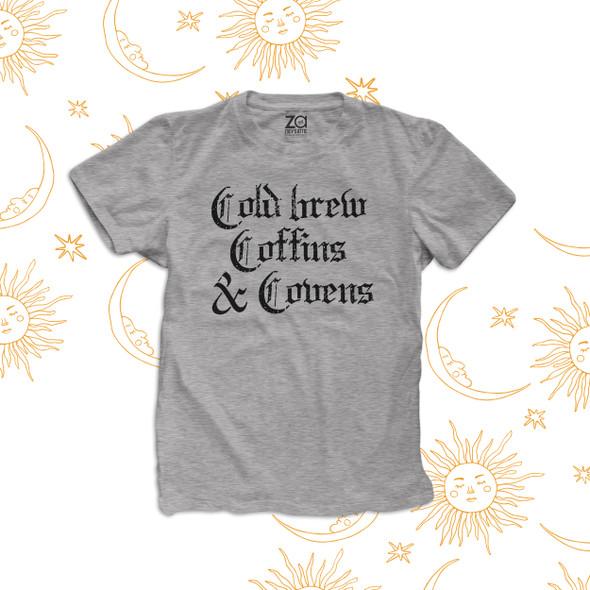 Halloween cold brew coffins & covens adult unisex crew neck Tshirt