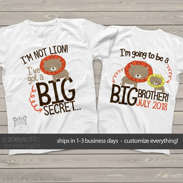 Big brother to be shirt i'm not lion personalized pregnancy announcement Tshirt