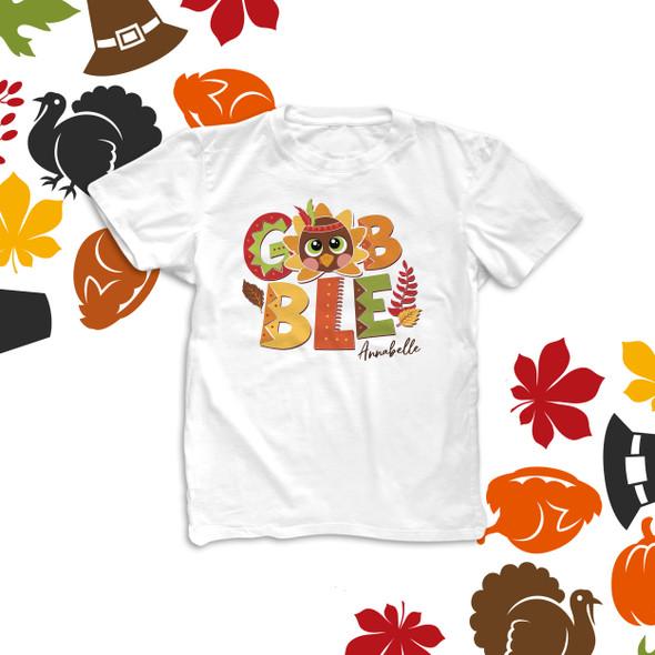 Thanksgiving turkey  gobble personalized kids Tshirt