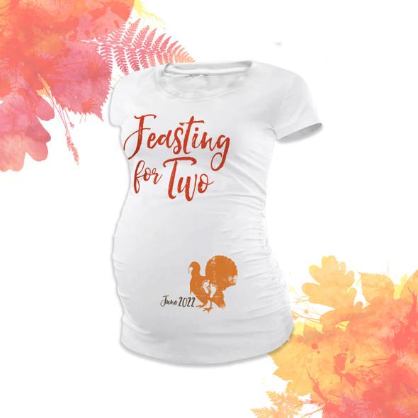 Thanksgiving turkey feasting for two custom womens non-maternity or maternity Tshirt
