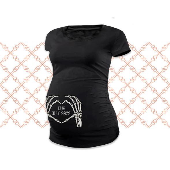Halloween heart skeleton hands unisex non-maternity or maternity DARK Tshirt