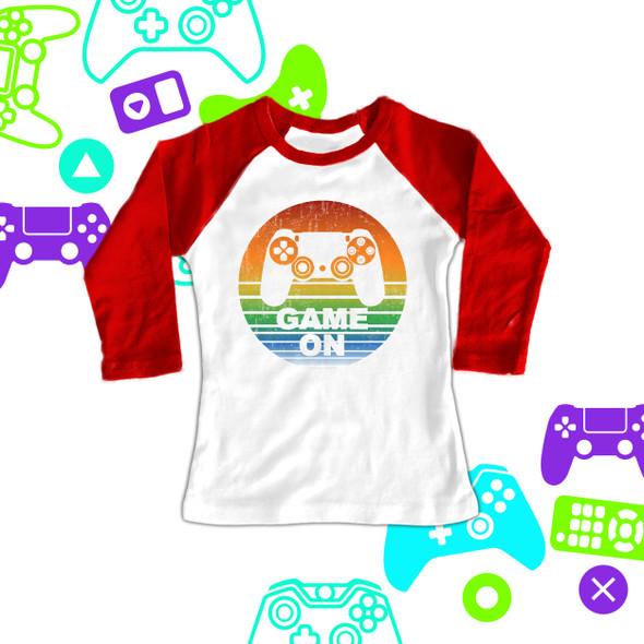 Fun game on video gamer kid's raglan shirt