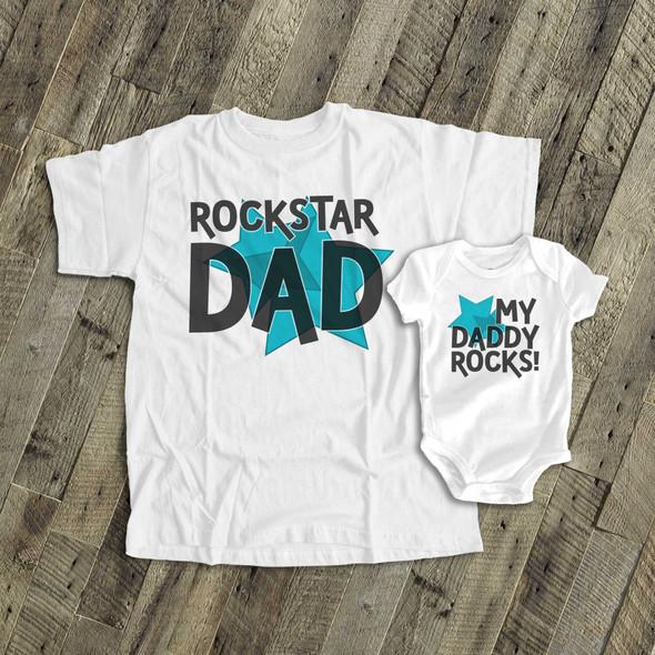 Rockstar dad my daddy rocks matching dad and kiddo t-shirt or bodysuit custom gift set