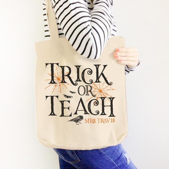Halloween teacher trick or teach tote bag