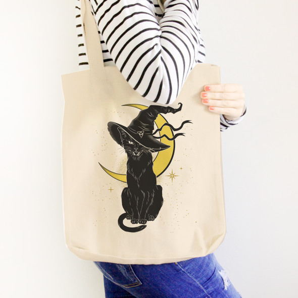 Black cat witch Halloween tote bag