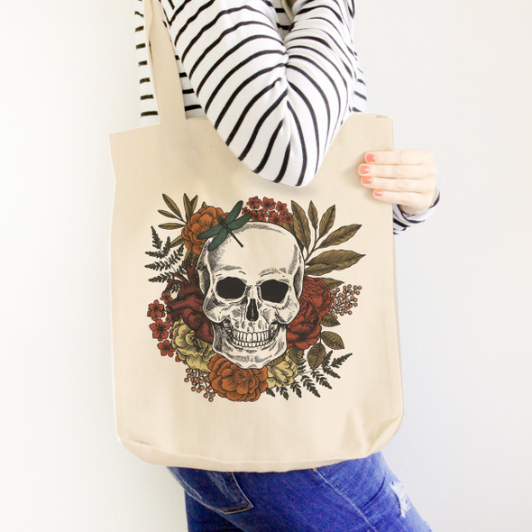 Gothic skull wreath Halloween tote bag