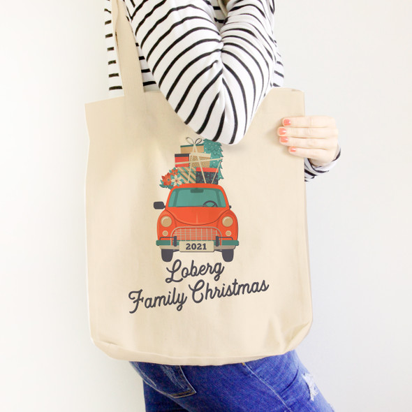 Family Christmas vintage red car christmas gifts personalized tote bag