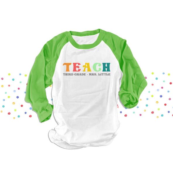 Third grade teach rainbow color text any grade personalized team teacher unisex adult raglan shirt