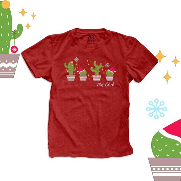 Christmas teacher santa hat cactus personalized DARK Tshirt