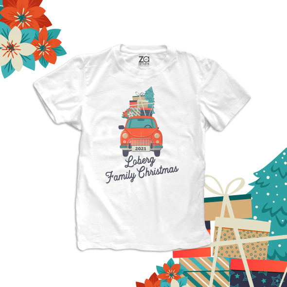 Family Christmas vintage red car christmas gifts personalized unisex Tshirt