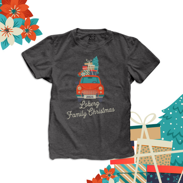 Family Christmas vintage red car christmas gifts personalized unisex DARK Tshirt