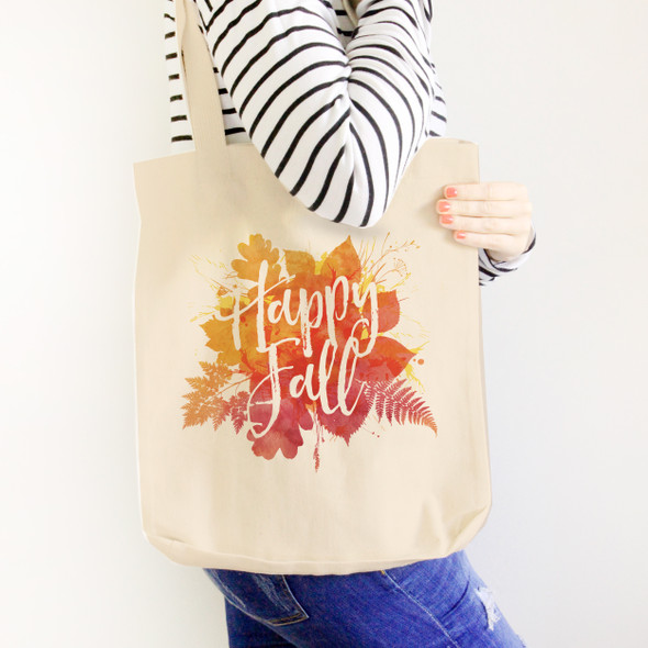 Happy Fall autumn leaves value or heavyweight tote bag