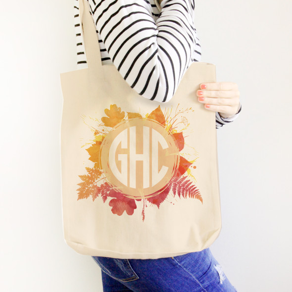 Monogrammed autumn leaves wreath value or heavyweight tote bag