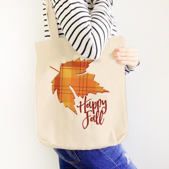 Happy Fall orange plaid autumn leaf value or heavyweight tote bag